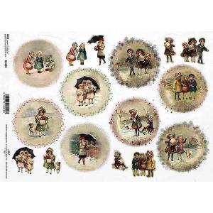 作品販売可能 ポーランド デコパージュ用ライスペーパー Rice paper A4 R1490 クリスマスを楽しむ子供達 パーツ モチーフ|ccpopo