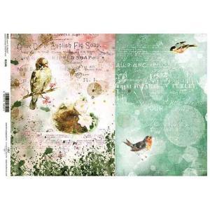 作品販売可能 ポーランド デコパージュ用ライスペーパー Rice paper A4 R1546 アンティーク 鳥 モチーフ 背景 バックグラウンド ccpopo