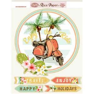 Dayka Trade スペイン 作品販売可能 デコパージュ用ライスペーパー1枚 22.4×29.4cm Made in Spain 南国の休暇 バイク RICE-125|ccpopo