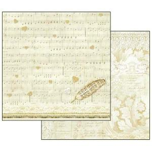 スタンペリア Stamperia イタリア 両面柄 スクラップブッキングペーパー 1枚バラ売り 音楽 楽譜 スコア フェザー 羽 SBB554 12x12インチ ccpopo