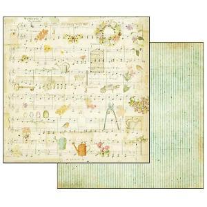 スタンペリア Stamperia イタリア 両面柄 スクラップブッキングペーパー 1枚バラ売り 楽譜 音楽 スコア じょうろ SBB556 12x12インチ ccpopo