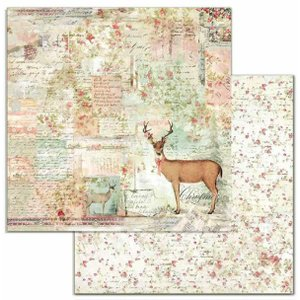 スタンペリア Stamperia イタリア 両面柄 スクラップブッキングペーパー 1枚バラ売り 鹿 Deer SBB699 12x12インチ 2020秋冬|ccpopo
