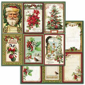 スタンペリア Stamperia イタリア 両面柄 スクラップブッキングペーパー 1枚バラ売り メリークリスマスカード Merry Christmas cards SBB703 12インチ 2020秋冬 ccpopo