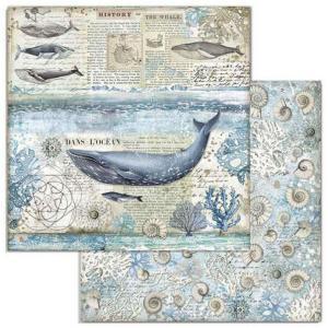 スタンペリア Stamperia イタリア 両面柄 スクラップブッキングペーパー 1枚バラ売り 鯨 くじら Whale SBB729 12x12インチ 2020秋冬|ccpopo