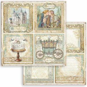 スタンペリア Stamperia イタリア 両面柄 スクラップブッキングペーパー 1枚バラ売り 眠れる森の美女 Sleeping Beauty 4面 カード 4 cards SBB793 12x12インチ ccpopo