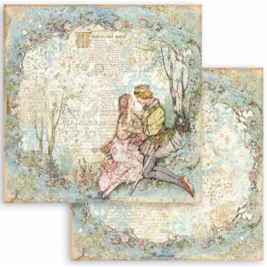 スタンペリア Stamperia 両面柄 スクラップブッキングペーパー 1枚バラ売り 眠れる森の美女 Sleeping Beauty 恋人たち lovers SBB795 12x12インチ ccpopo