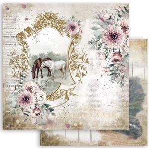 スタンペリア Stamperia 両面柄 スクラップブッキングペーパー 1枚バラ売り Romantic Horses 馬 湖 Lake SBB799 12x12インチ ccpopo