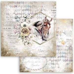 スタンペリア Stamperia 両面柄 スクラップブッキングペーパー 1枚バラ売り Romantic Horses 女性に寄り添う馬 lady with horse SBB800 12x12インチ ccpopo