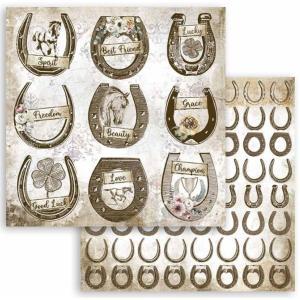 スタンペリア Stamperia 両面柄 スクラップブッキングペーパー 1枚バラ売り Romantic Horses 馬蹄形 horseshoe SBB801 12x12インチ ccpopo