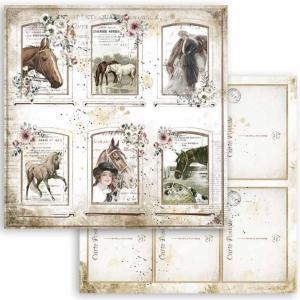 スタンペリア Stamperia 両面柄 スクラップブッキングペーパー 1枚バラ売り Romantic Horses 馬 カード cards SBB802 12x12インチ ccpopo