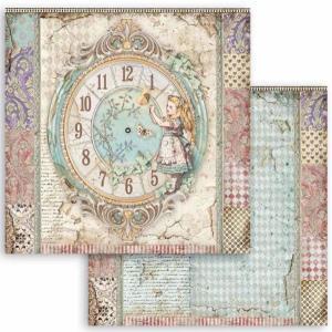 スタンペリア Stamperia 両面柄 スクラップブッキングペーパー 1枚バラ売り 不思議の国のアリス クロック 時計 Clock SBB815 12x12インチ ccpopo
