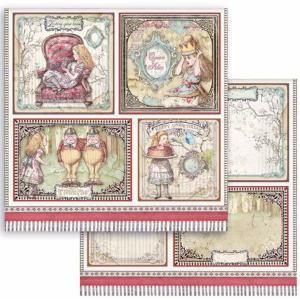 スタンペリア Stamperia 両面柄 スクラップブッキングペーパー 1枚バラ売り 不思議の国のアリス アリスカード Alice cards SBB817 12x12インチ ccpopo