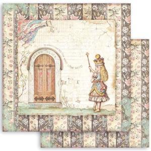 スタンペリア Stamperia 両面柄 スクラップブッキングペーパー 1枚バラ売り 不思議の国のアリス アリスドア Alice door SBB819 12x12インチ ccpopo