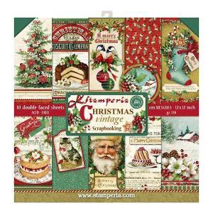 スタンペリア Stamperia イタリア 両面柄 ペーパーセット 30.5x30.5cm SBBL45 クリスマスヴィンテージ Christmas Vintage スクラップブッキング コラージュ|ccpopo