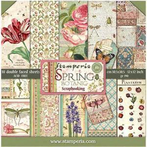 スタンペリア Stamperia イタリア 両面柄 ペーパーセット 30.5x30.5cm SBBL50 春の花々 Spring Botanic SPRING 2019 スクラップブッキング コラージュ|ccpopo