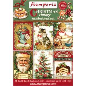 スタンペリア Stamperia イタリア スクラップブッキング用ペーパー カードブロック 24シート クリスマスヴィンテージ Christmas Vintage SBBPC07|ccpopo