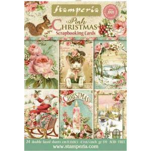スタンペリア Stamperia イタリア スクラップブッキング用ペーパー カードブロック 24シート ピンク クリスマス Pink Christmas SBBPC08|ccpopo