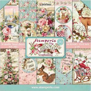 スタンペリア Stamperia イタリア 両面柄 ペーパーセット20.3X20.3cm SBBS16 Double Face ピンク・クリスマス Pink Christmas 2020秋冬 ccpopo