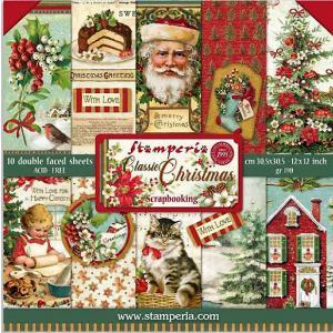スタンペリア Stamperia イタリア 両面柄 ペーパーセット20.3X20.3cm SBBS17 Double Face クラシッククリスマス Classic Christmas 2020秋冬 ccpopo