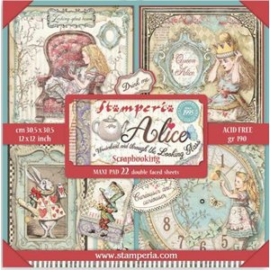 スタンペリア Stamperia  両面柄 ペーパーセット30.5X30.5mm 22シート 不思議の国のアリス Alice in Wonderland and through the LOOKING GLASS SBBXL12 ccpopo