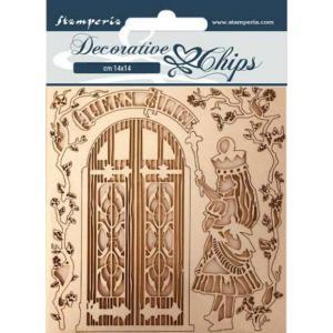 スタンペリア Stamperia 木製デコレーションチップ Decorative chips 14x14 cm - 不思議の国のアリス Queen Alice|ccpopo