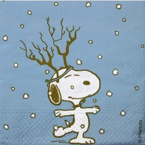 1枚バラ売りペーパーナプキン スヌーピー SNOOPY PEANUTS トナカイ クリスマス 紙ナフキン 33x33cm ドリパージュ デコパージュ|ccpopo
