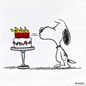 1枚バラ売りペーパーナプキン スヌーピー SNOOPY PEANUTS お誕生日 ケーキ HAPPY BIRTHDAY THALIA ドイツ 紙ナフキン 33x33cm ドリパージュ デコパージュ|ccpopo