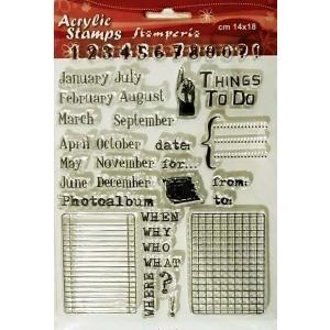 スタンペリア Stamperia イタリア 大型 アクリル製クリアスタンプ 14.0x18.0cm WTK070 カレンダー Calendar ccpopo