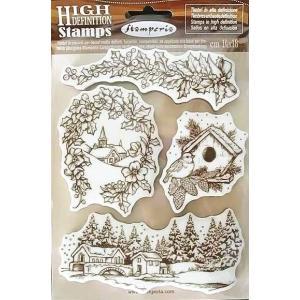 スタンペリア Stamperia イタリア HD スタンプ ラバースタンプ 14.0x18.0cm WTKCC110 冬景色 Winter Landscapes|ccpopo