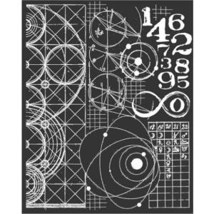 スタンペリア Stamperia イタリア ステンシルプレート 強化仕様 20x25cm デザインプレート モチーフ KSTD042 Cosmos astronomy and numbers 数字 2019秋冬|ccpopo