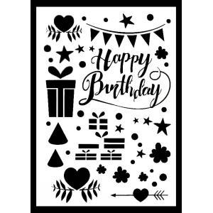 ステンシルA4大サイズ プレート デザインプレート モチーフ STENCIL PATTERN クラフト ペイント スタンプ インクパッド Happy Birthday お誕生日 072-13|ccpopo
