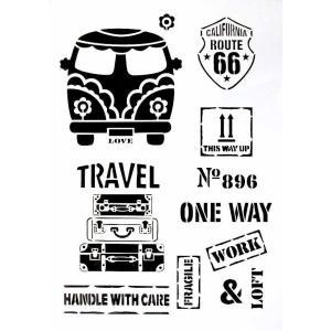 ステンシルA4大サイズ プレート デザインプレート モチーフ STENCIL PATTERN クラフト ペイント スタンプ インクパッド バス旅行 トラベル 072-25|ccpopo