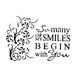 ステンシルA4大サイズ プレート デザインプレート モチーフ STENCIL PATTERN クラフト ペイント スタンプ インクパッド MANY OF MY SMILES BEGIN with you FU01|ccpopo