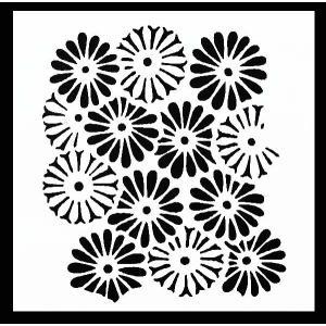 ステンシル ミニプレート デザインプレート モチーフ STENCIL PATTERN クラフト ペイント スタンプ インクパッド デコパージュ 花|ccpopo