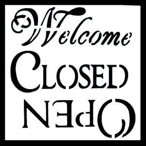 ステンシル ミニプレート デザインプレート モチーフ STENCIL PATTERN クラフト ペイント デコパージュ 店舗用 看板 ディスプレイ Welcome CLOSED OPEN|ccpopo