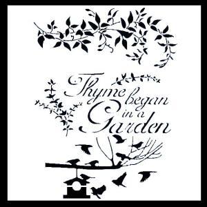 ステンシル ミニプレート デザインプレート モチーフ STENCIL PATTERN クラフト ペイント デコパージュ ワードステンシル エレガント Thyme Began In A Garden|ccpopo