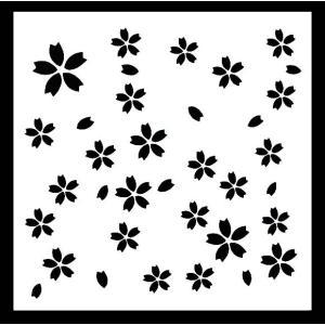 ステンシル ミニプレート デザインプレート モチーフ STENCIL PATTERN クラフト ペイント デコパージュ 桜 さくら サクラ|ccpopo