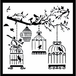ステンシル ミニプレート デザインプレート モチーフ STENCIL PATTERN クラフト ペイント デコパージュ 鳥 鳥籠 ケージ|ccpopo