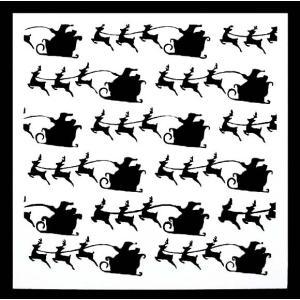 ステンシル ミニプレート デザインプレート モチーフ STENCIL PATTERN クラフト ペイント デコパージュ クリスマス そり トナカイ|ccpopo