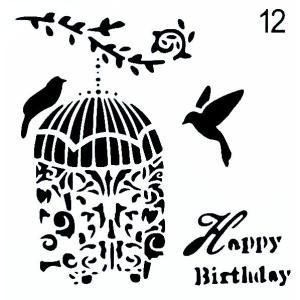 ステンシル ミニプレート デザインプレート モチーフ STENCIL PATTERN クラフト ペイント デコパージュ 鳥かご お誕生日 Happy Birthday|ccpopo