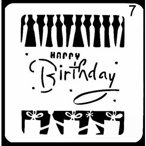 ステンシル ミニプレート デザインプレート モチーフ STENCIL PATTERN クラフト ペイント デコパージュ HAPPY BIRTHDAY|ccpopo