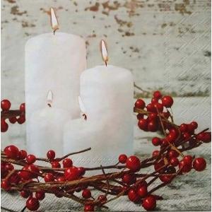 Stewo スティーボ社 スイス ペーパーナプキン クリスマス キャンドル Yasna rot バラ売り2枚1セット L-72-6376-20 デコパージュ ドリパージュ|ccpopo