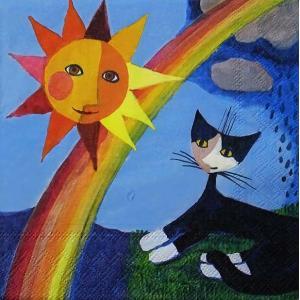 Stewo スティーボ社 スイス ペーパーナプキン 虹を眺める猫 キャット Arcobaleno バラ売り2枚1セット L-72-6491-40 デコパージュ ドリパージュ|ccpopo