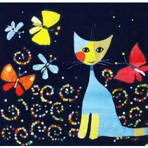Stewo スティーボ社 スイス ペーパーナプキン 猫と蝶の舞い Dance of butterflies バラ売り2枚1セット L-72-6490-26 デコパージュ ドリパージュ 72-6492-42|ccpopo