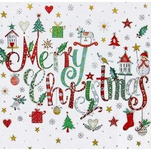 Stewo スティーボ社 スイス ペーパーナプキン メリークリスマス Wira grun バラ売り2枚1セット L-72-6860-45 ccpopo