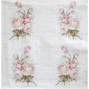 Sagen Vintage Design ノルウェー ペーパーナプキン Small Love Roses 80049 バラ売り2枚1セット デコパージュ ドリパージュ|ccpopo