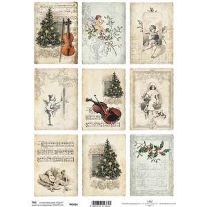 作品販売可能 ポーランド スクラップブッキングペーパー 1枚バラ売り アシッドフリー Tag frames to scrapbooking TAG0061 クリスマスツリー 音楽 天使 ccpopo