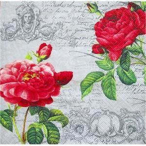 1枚バラ売りペーパーナプキン ti-flair ドイツ 二輪の薔薇 花 Deux Roses Classique black 340171 デコパージュ ドリパージュ|ccpopo