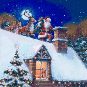ti-flair ドイツ製ペーパーナプキン Santa on Rooftop with Reindeer 303533 バラ売り2枚1セット デコパージュ ドリパージュ|ccpopo
