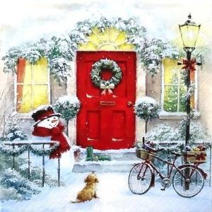 ti-flair ドイツ製ペーパーナプキン クリスマス ドアの前で待つ雪だるまと子犬 Puppy & Snowman 303740 バラ売り2枚1セット デコパージュ ccpopo